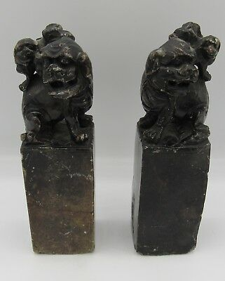 """Antique pair estate Chinese Guardian Lion hard stone carved Foo Dogs 6"""""""