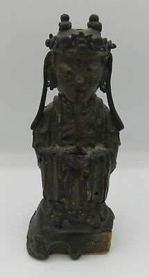 "Antique Estate Chinese bronze court figure statue 6.75"" Ming Dynasty??"