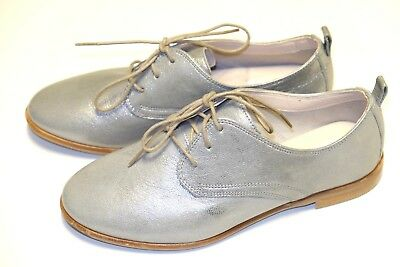 CLARKS ALANIA POSEY Silver Leather ladies shoesflatsbrogues 437 D