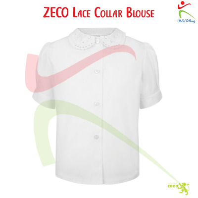 013961b3e Zeco Girls Short Sleeve Easy Iron Lace Collar School Uniform Wear White  Blouse