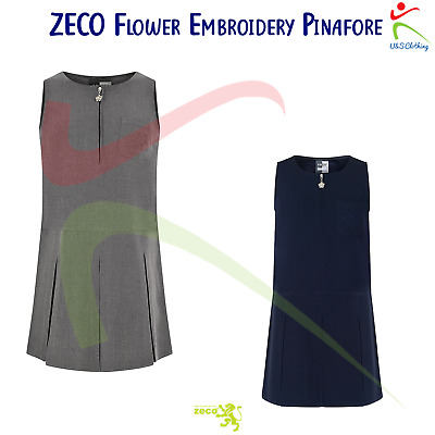 ZECO Girls Sleeveless Flower Embroidery Pinafore Polyester School Uniform Wear