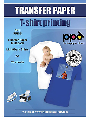 PPD Inkjet T Shirt Transfer Paper Multipack White and Dark Fabric A4 White x 50