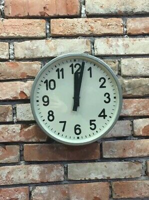 Czech Pragotron Industrial Metal Station Factory Office Wall Clock