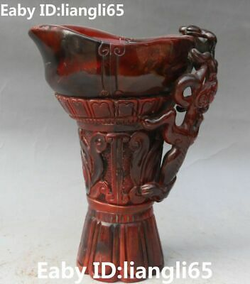 Rare China Oxhorn Ox Horn Carving Dragon Pixiu Beast Brave Troops Head Cup Cups