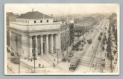 Bank of Montreal WINNIPEG Manitoba RPPC Rare Antique Photo—Trolley Trains 1912