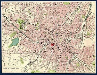 "Antique MAP ~ Street Plan BIRMINGHAM Lancashire 10"" x 8"" ~ 1903 Original"