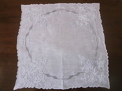 Beautiful Fine Swiss Appenzell Lace Wedding Bridal Handkerchief