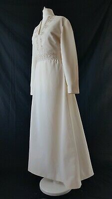 Vintage 70s Wedding Dress Ivory Embroidered 30s 40s 50s Style Uk 14