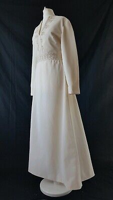 Vintage 70s Wedding Dress Ivory Embroidered 30s Style Uk 14