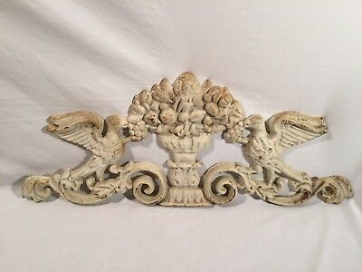 Vintage White Heavy Victorian Style Cast Iron Hummingbird In Garden Decoration