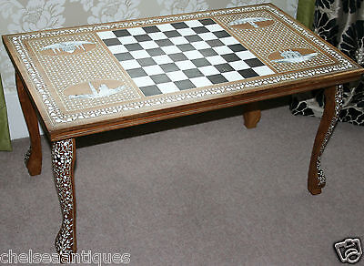 1970s True Vintage LIBERTY LONDON Coffee Table/Chess Table Mother of Pearl Inlay