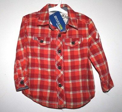 New OshKosh Shirt Boys size 12 months Button Up Plaid Long Sleeve NWT -V VX=