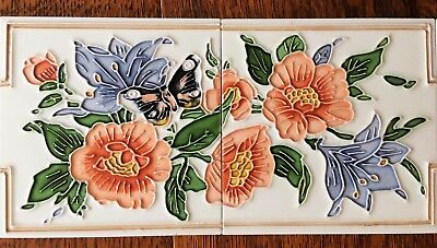 "Tube-lined hand painted & glazed fireplace tiles luxurious-Two-tile panel 12""x6"""