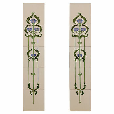 Handpainted tubelined fireplace tiles-set of 10 elegant flower & swags on cream