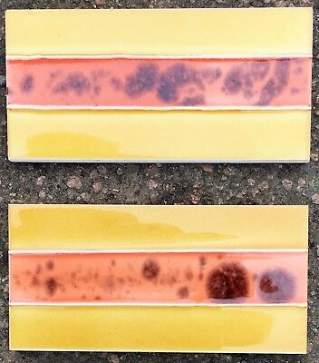 6 Tubelined handpainted glazed fireplace set of dark yellow/coral-spacer tiles
