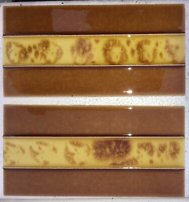 4 Tube-lined handpainted & glazed fireplace set of luxurious-spacer tiles