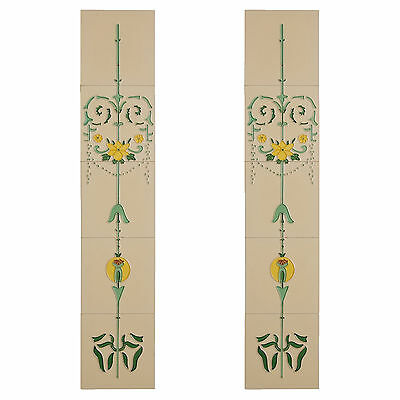 Handpainted tube lined fireplace tiles-set of 10 elegant flower & swags on cream