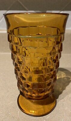 COLONY INDIANA GLASS Set Of 3 WHITEHALL AMBER Cubist FOOTED ICED TEA TUMBLER