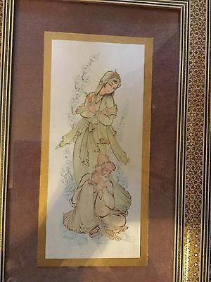 Vintage Persian Qajar Painting with katam frame and  signature.