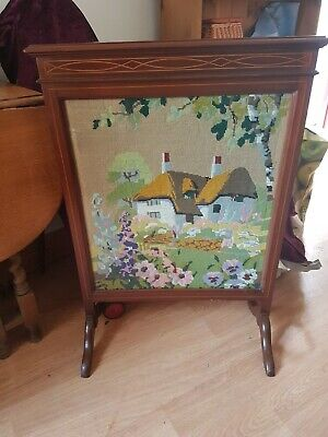 Edwardian Mahogany Fire Screen Tapestry Cottage In Garden Beautiful Inlay Detail