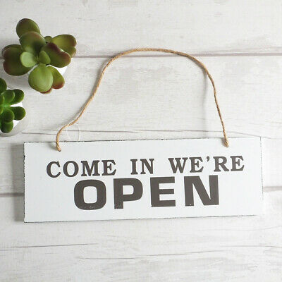 Rustic Style OPEN CLOSED Reversible WOODEN PLAQUE Hanging Sign Shop Cafe