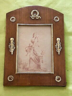 Antique French Empire Mahogany Wood Frame W/ Fine Gilt Bronze