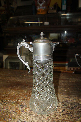 Crystal Water Pitcher Ewer Silverplated Decanter Claret