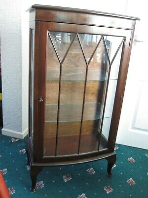 One Door Bow Front, Reproduction Mahogany Coloured Display Cabinet. Used