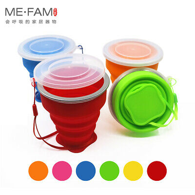 Mini Outdoor Silicone Folding Cup Children Travel Drinking Cup Lid Set of 4Piece