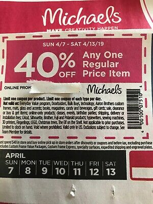 Michaels Craft Store Coupon 40 Off Any One Regular Price Item