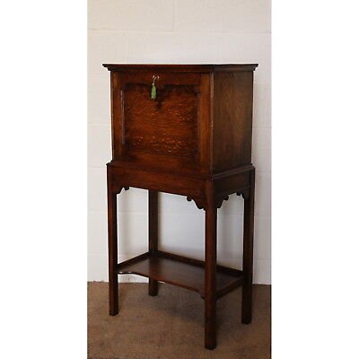 A Quality Edwardian Ladies Oak Fall Front Desk with Fitted Interior