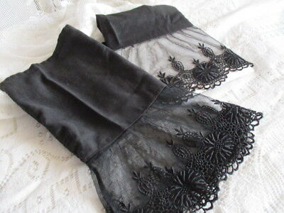 "Antique Vintage French Chantilly Lace Cuffs Hand Embroidered 6"" Deep Lace Black"