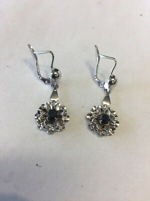 18 Kt White Gold & Blac Diamond Earrings