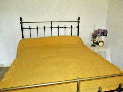 Antique Vintage French Bed Cover with valance.Bedspread. Large, Bright & Sunny