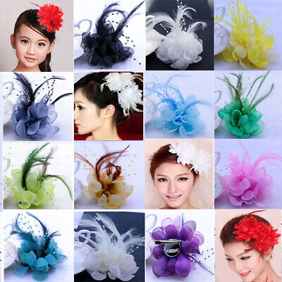 Feather Fascinator pearl / hair clip / Corsage / brooch / wrist flower wedding