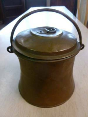 antique copper clad lunch pail. berry box, travel container,.orginal forged pot