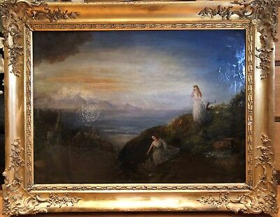 19th CENTURY HUGE FRENCH SYMBOLIST OIL - WATER NYMPHS BY A RIVER - VERY UNUSUAL