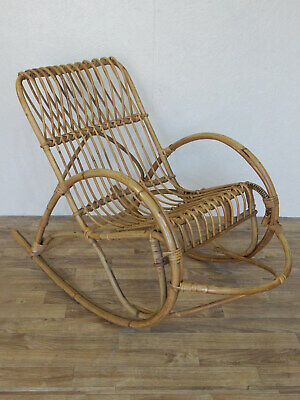 Rare vintage bent cane bamboo childrens rocking chair with foot rest rocker bar