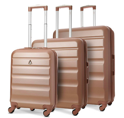 Travel Trolley Suitcase Lightweight 4 Wheel ABS Hard Shell Luggage 3 Piece Set