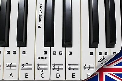 Music 61 key Keyboard or Piano Stickers 36 white key clear laminated stickers