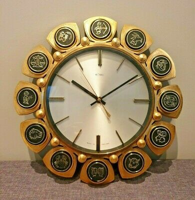 Vintage 1960's Retro Metamec Zodiac Signs Wall Clock (Battery Quartz Star Sign)