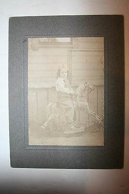 Vintage Sepia Cabinet Card Photo Young Girl on Rocking Horse Outside by House