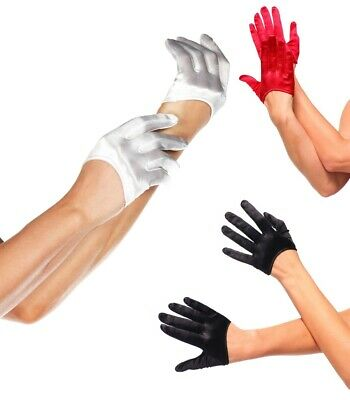 Mini Cropped Satin Gloves, Black, Red, White Bride Sexy Burlesque Evening, Races