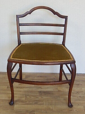 Extra wide antique Georgian style ladder back dining chair velvet upholstered