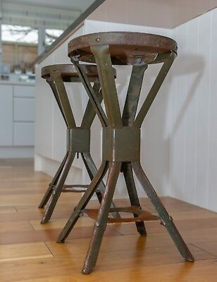 Two (2) Matching Evertaut Machinist Factory Stools - Kitchen Industrial Vintage