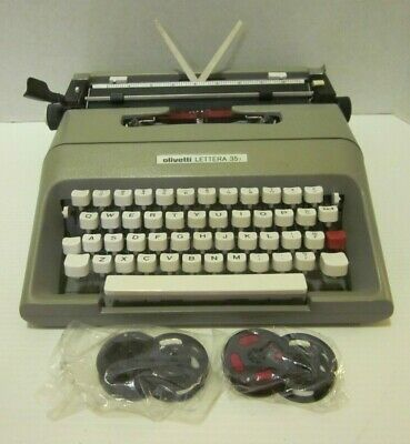 Olivetti Lettera 35I Mechanical Manual Typewriter Gray Compact Portable + Ribbon