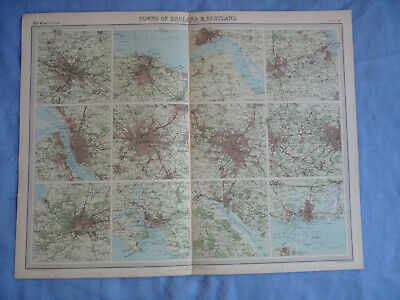 Vintage 1922 England and Scotland Towns Maps Times Atlas Manchester Plymouth