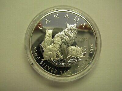 2005 Proof $5 Lynx SML from fractional set Canada 1 oz .9999 silver five dollars