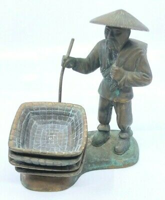 Vintage 1946 Solid Cast Bronze Russwood  Asian Man Incense Burner WIth 4 Trays