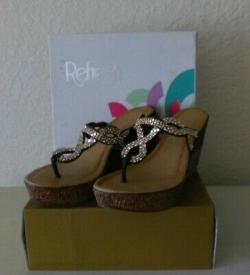 a3b65f0fe REFRESH BROWN FX Wood Sandal High Heel Wedge Shoes 4.5